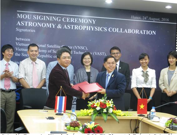 Trung tâm Vệ tinh Quốc gia và Viện Nghiên cứu Thiên văn Quốc gia Thái Lan ký Bản ghi nhớ Hợp tác trong Thiên văn học và Vật lý thiên văn